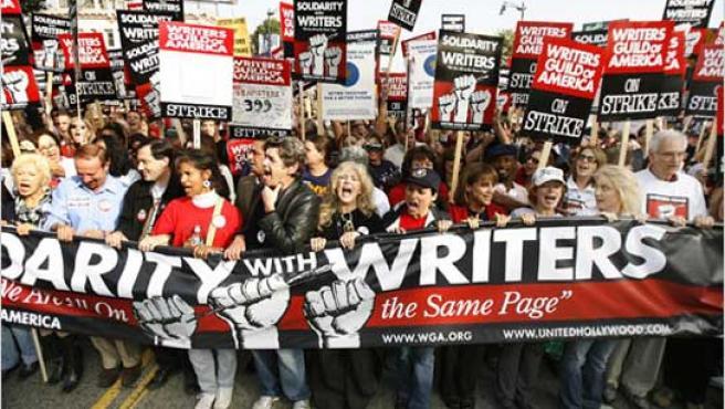 Imagen de la pasada huelga de guionistas de Hollywood.