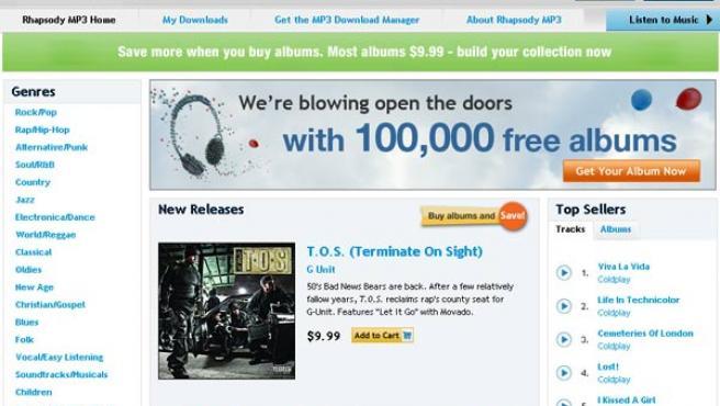 Página web de la tienda de MP3 de Rhapsody.