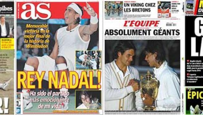 Las portadas de la prensa deportiva ensalzan a Nadal.