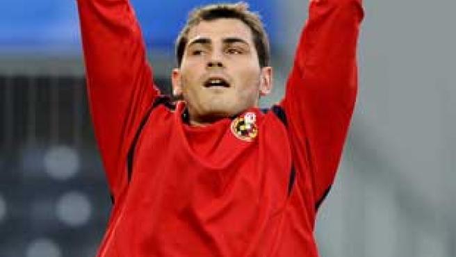 Iker Casillas en el último entrenamiento de la selección española.