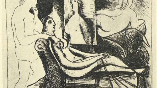 La litografía El pintor y su modelo se exhibe por primera vez.