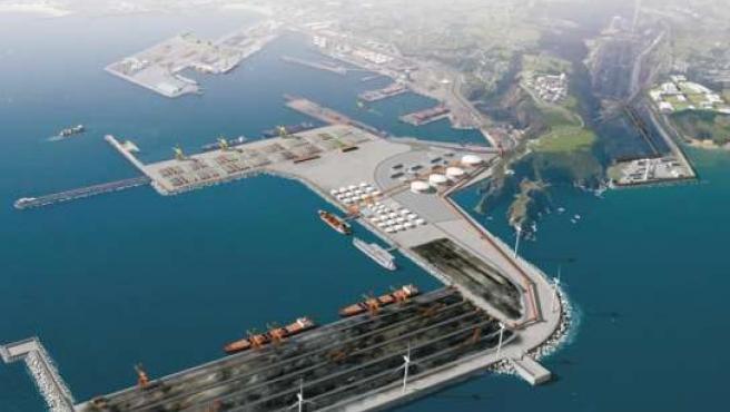 Una vista del puerto gijonés