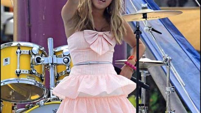 Hannah Montana, durante un rodaje en Santa Mónica (Foto: KORPA).