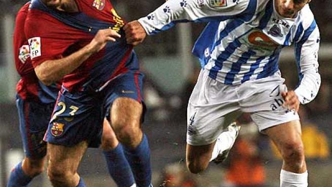 Oleguer, con la camiseta del Barça.