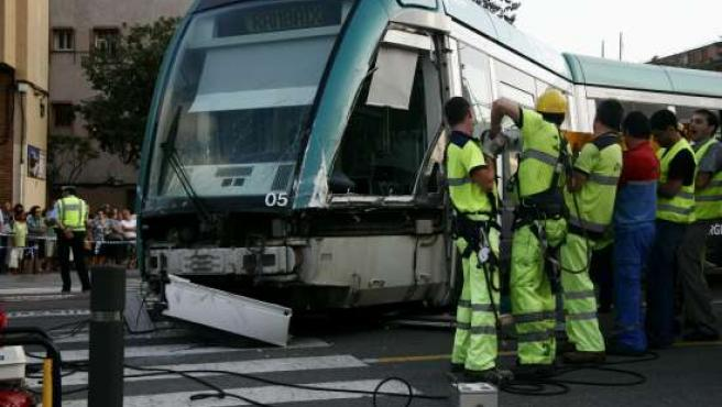 Accidente del Trambaix en Barcelona.