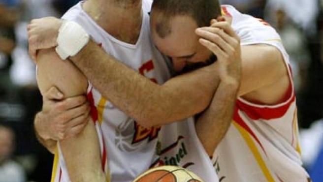 El alero del Joventut Rudy Fernández grita tras conseguir el Mundial de baloncesto. (Archivo)