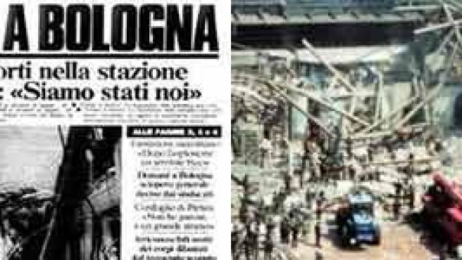 La noticia, en el Paese Sera (i), y una imagen del atentado de Bolonia (d). WIKIPEDIA
