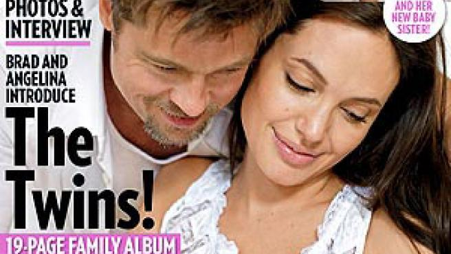 Brad Pitt y Angelina Jolie, con sus mellizos, en la portada de 'People'.