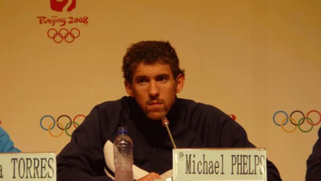 Phelps, en la sala de prensa