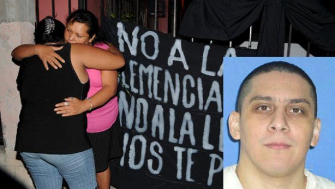 José Medellín, en una foto cedida por el Departamento de Justicia Criminal de Texas, y familiares suyos tras la ejecución. (Foto: EFE)