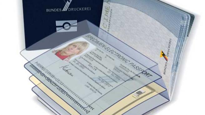 Representación esquemática del pasaporte electrónico. (Foto: ARCHIVO / www.bundesdruckerei.de ).