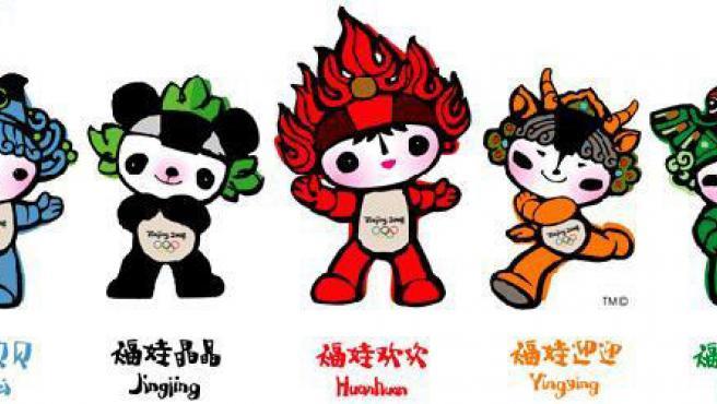 Una imagen de las mascotas olímpicas de Pekín 2008.