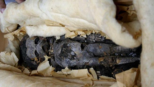 Uno de los dos fetos momificados encontrados en la tumba de Tutankamón en 1922. (EFE)