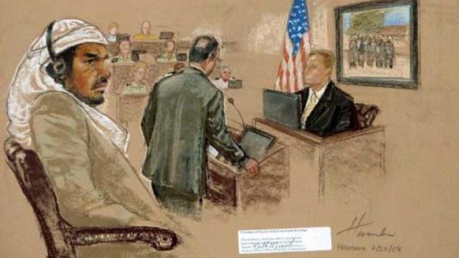 Foto de archivo fechada el pasado 22 de julio de 2008 que muestra al acusado Salim Hamdan durante el juicio militar por crímenes de guerra