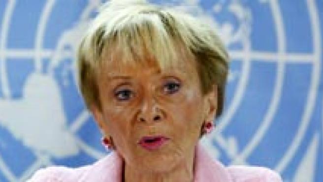 Fernández de la Vega se expresó así en el coloquio que mantuvo con un grupo de mujeres en el Instituto Internacional de la ONU. (EFE)