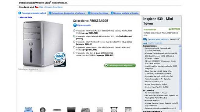 Web de la compañía Dell en Chile.