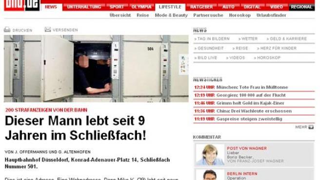 Imagen de la taquilla en la que el joven lleva 9 años viviendo. (Foto: www.bild.de ).