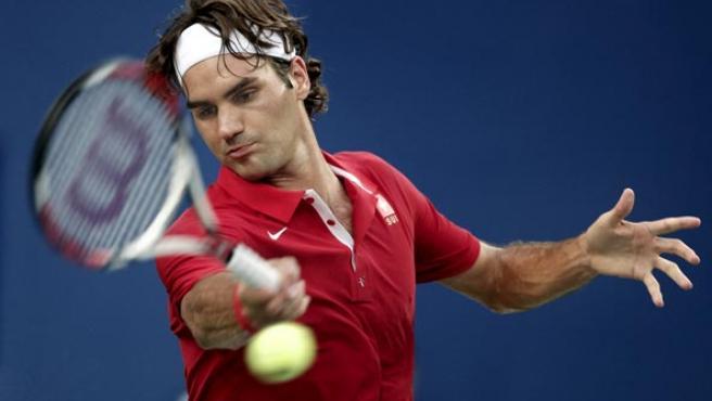Federer, durante el partido (Agencias).