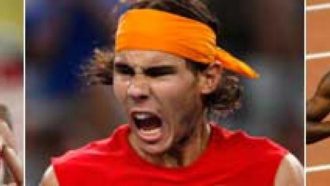 Federer, Marta Domínguez, Rafa Nadal, Usain Bolt y Michael Phelps, protagonistas de los Juegos. (EFE)