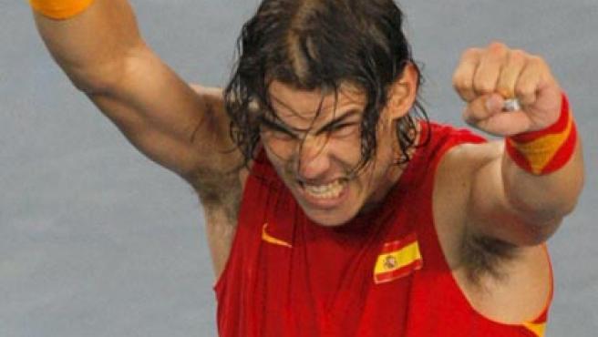 Rafa Nadal celebra la victoria en Pekín (Agencias).