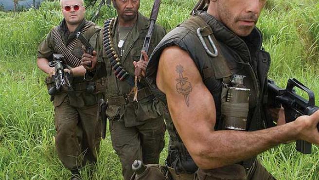 Jack Black, Robert Downey Jr. y Ben Stiller en 'Tropic Thunder'.