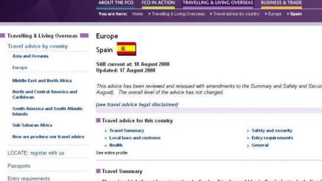 Captura de la página web del Foreign Office con sus advertencias sobre España, en las que se detallan los últimos atentados.