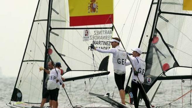 La pareja española, ganadora de la plata (Agencias).