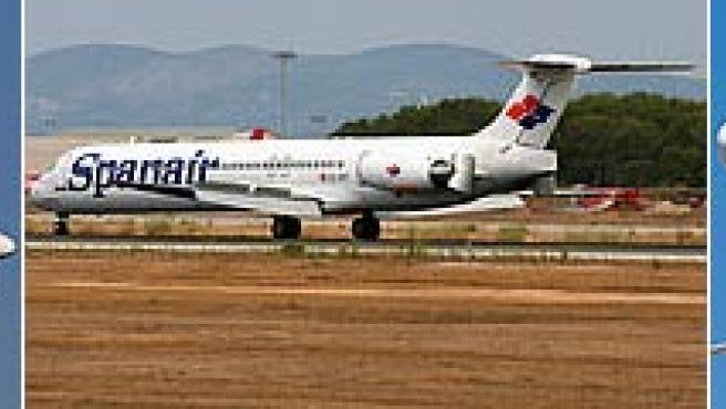El avión accidentado, en fotos tomadas por aficionados a la aeronáutica.