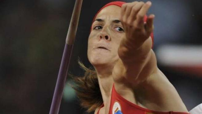 Mercedes Chilla, durante su participación en la final de lanzamiento de Jabalina en los Juegos de Pekín (REUTERS).