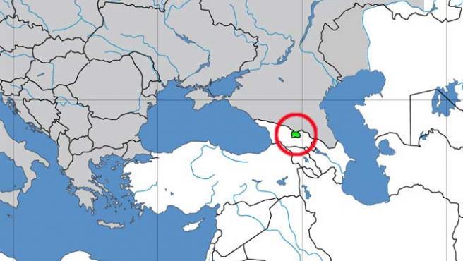 Situación geográfica de Osetia del Sur (Wikipedia)