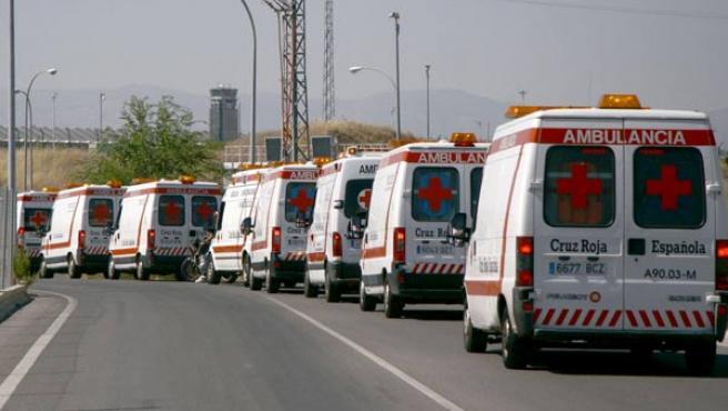 Los servicios de emergencias sanitarias, camino de Barajas.