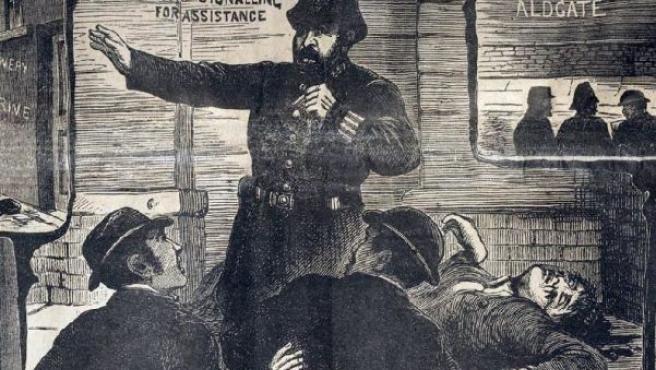"""Recorte de prensa de 1888 sobre el caso de """"Jack the Ripper""""."""