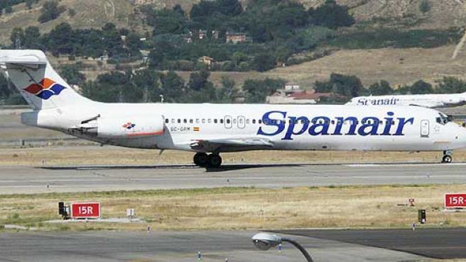 Un avión de Spanair del modelo siniestrado, McDonnell Douglas MD82.