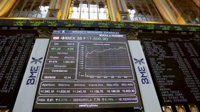 Panel de la Bolsa de Madrid, en el que se reflejan las subidas del Ibex 35. (EFE/KOTE RODRIGO)