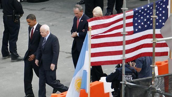 Obama y McCain, juntos en la 'Zona cero'. (REUTERS)