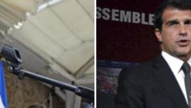 El presidente del Espanyol, Sánchez Llibre, y el presidente del Barcelona, Joan Laporta.