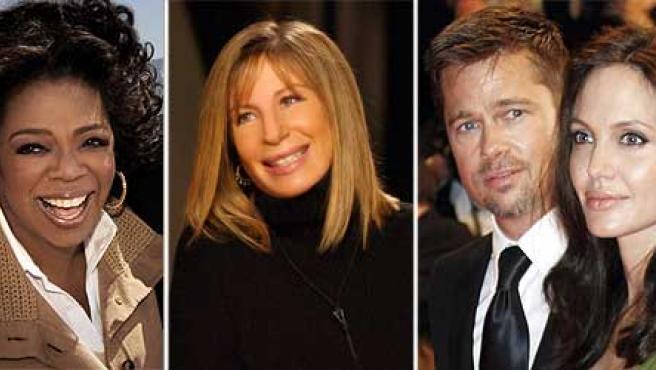 Oprah Winfrey, Barbra Streisand y Angelina Jolie y Brad Pitt están en la lista.