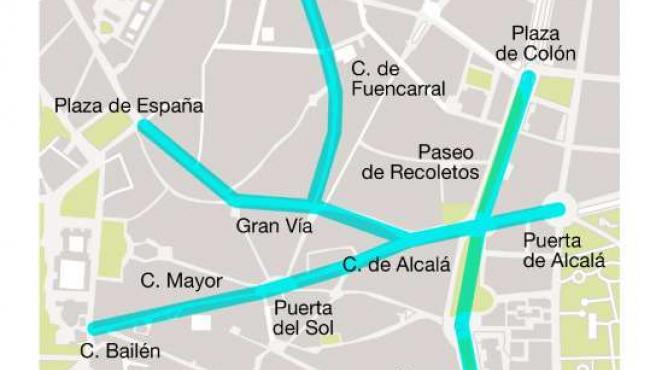 Calles cortadas al tráfico. (AYTO. DE MADRID)