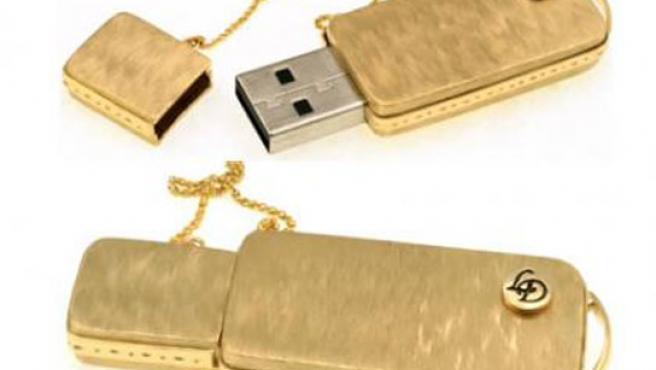 Memoria USB en oro y diamantes.