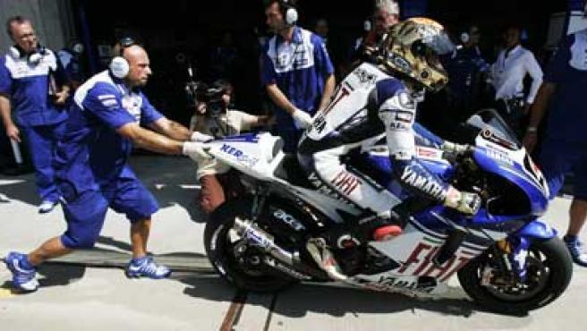 Jorge Lorenzo, piloto de Yamaha, en la clasificación en Indianapolis.