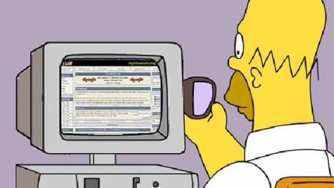 Homer, cara a cara con el 'pc'