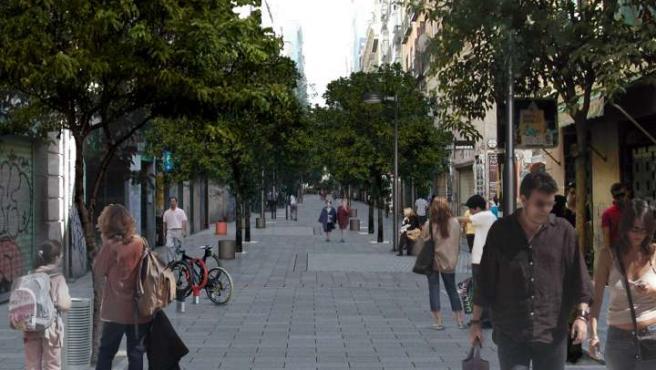 Montaje de la futura peatonalización de Fuencarral. (AYTO. MADRID)