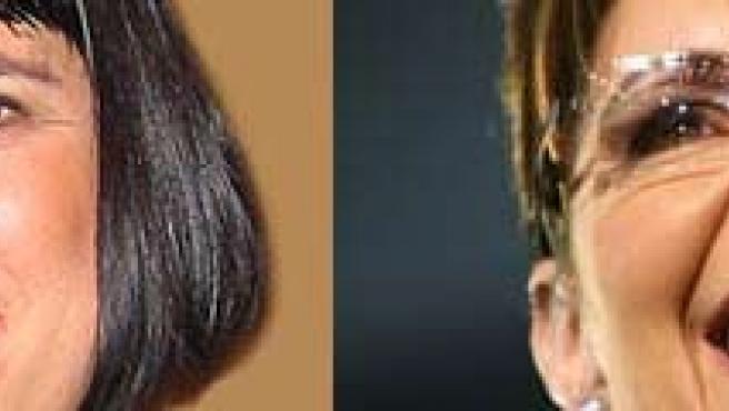Eve Ensler y Sarah Palin (AGENCIAS).