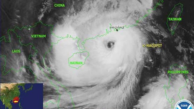 El tifón Hagupit se encuentra en el sur de China y se desplaza hacia el oeste.