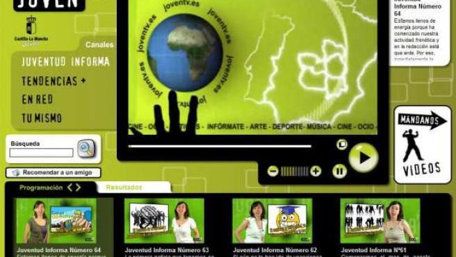 Imagen de la portada de la televisión joven del Instituto de la Juventud del Gobierno regional en www.joventv.es.
