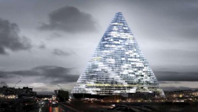Imágen del proyecto de rascacielos piramidal que se construirá en la ciudad de París.