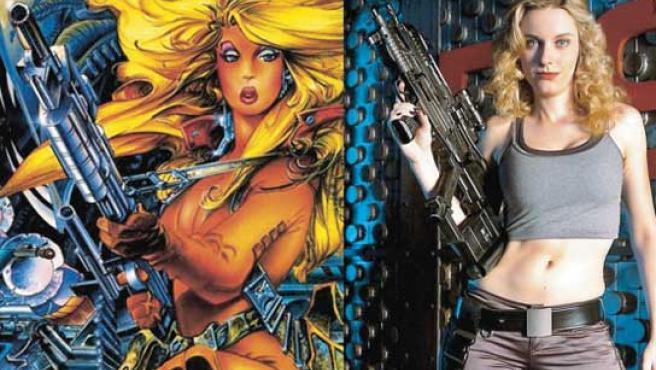 La heroína en la ficción del cómic, tal y como la dibujó Alfonso Azpiri, y la actriz que da vida a la protagonista en la serie.