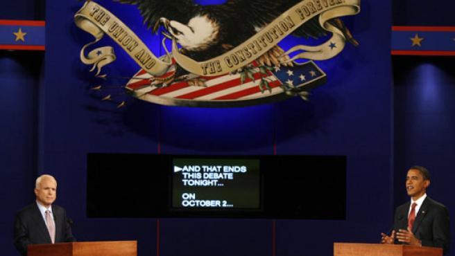 Un momento del primer cara a cara entre los dos candidatos a la Casa Blanca (FOTO: REUTERS)