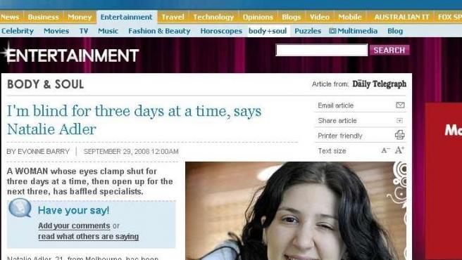 La australiana Natalie Adler (NEWS.COM )