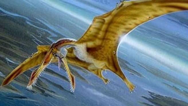 El cuadro de un pintor llamado Marshall recrea al pterodáctilo.